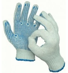 Перчатки ПВХ 5-ти нитка Точка (белая, черная, графит)
